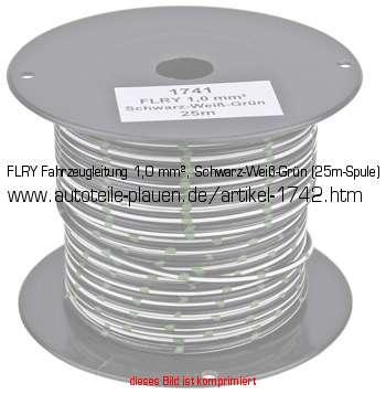 FLRY Fahrzeugleitung 1,0 mm², Schwarz-Weiß-Grün (25m-Spule) in KFZ ...