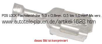 pos lock flachsteckh lse 6 3 x 0 8mm 0 5 bis 1 0 mm ms verz in kfz elektrik kabelschuhe. Black Bedroom Furniture Sets. Home Design Ideas