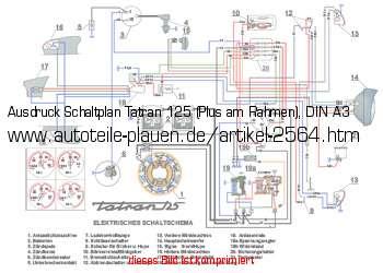 Ausdruck Schaltplan Tatran 125 (Plus am Rahmen), DIN A3 in Tatran 125